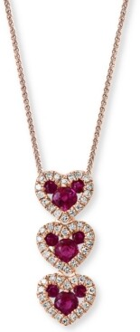 "Macy's Lali Jewels Certified Ruby (1/2 ct. t.w.) & Diamond (1/6 ct. t.w.) 18"" Pendant Necklace in 14k Rose Gold"