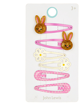 John Lewis Girls' Bunny and Flower Hair Clip Set, Pack of 6, Pink