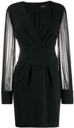Antonelli sheer-sleeve wrap-around dress