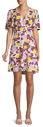 Kate Spade Floral Plisse A-Line Swing Dress