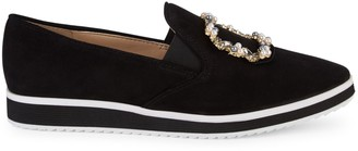 Karl Lagerfeld Paris Kalana Faux Pearl Embellished Suede Loafers