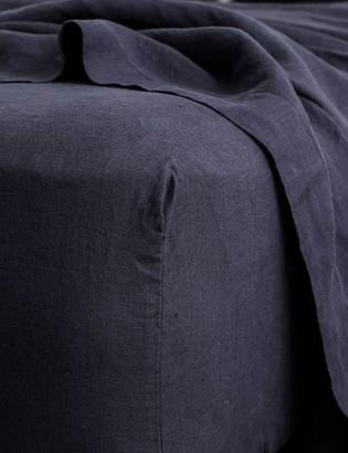 Lulu & Georgia Cultiver Linen Bedding, Navy Fitted Sheet