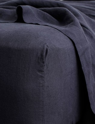 Lulu And GeorgiaLulu & Georgia Cultiver Linen Bedding, Navy Fitted Sheet