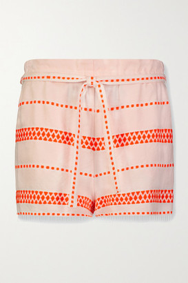 Lemlem Jemari Belted Striped Cotton-blend Gauze Shorts - White