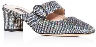 Sarah Jessica Parker Women's Vamp Glitter Square-Toe Mules