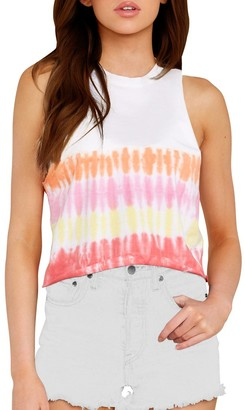 Steve Madden Tie-Dye Cropped Ombre Tank Yellow White