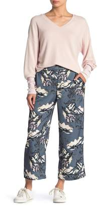 Michael Stars Satin Floral Cropped Pants