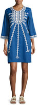 Figue Sophie Embroidered Shift Dress, Blue