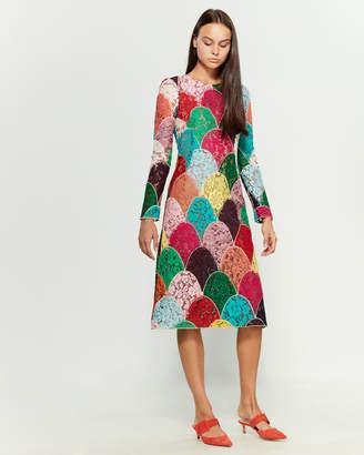 Dolce & Gabbana Lace Color Block Midi Dress