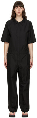 System Black Collared Jumpsuit
