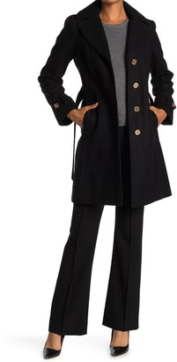 MICHAEL Michael Kors Missy Belted Wool Blend Trench Coat
