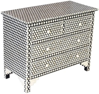 Empress Homewares Hive Bone Inlay 4 Drawer Chest Black