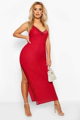boohoo Plus Lace Detail Thigh Split Maxi Dress