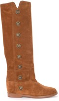 Via Roma 15 Boot In Leather-colored Suede With Metal Side Buttons