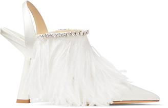 Jimmy Choo AMBRE 100 Ivory Satin Slingback Heels with Ostrich Feather and Crystal Trim