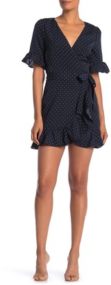 J.o.a. Polka Dot Ruffled Faux Wrap Dress
