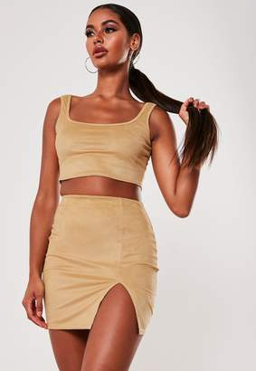Missguided Mocha Faux Suede Crop Top And Mini Skirt Co Ord Set