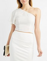 Charlotte Russe Tied One-Shoulder Crop Top