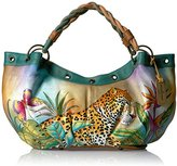 Anuschka Handpainted Leather Braided Handle Large Ruched Hobo Leopard in Paradise