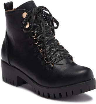 Chase & Chloe Storm Faux Leather Combat Bootie