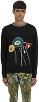 James Long Men's Intarsia Knit Crew Neck Sweater In Black