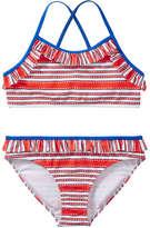 Joe Fresh Kid Girls' lemlem Crossback 2 Piece Swimsuit, Orange (Size L)