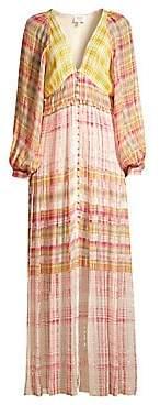 HEMANT AND NANDITA Women's Plunging Long Peasant Dress