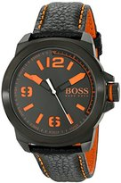 HUGO BOSS BOSS Orange Men's 1513152 New York Black Watch with Leather Band