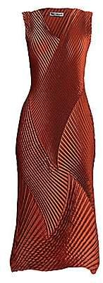 Issey Miyake Women's Cross Pleated Midi Dress