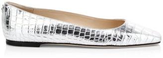 Jimmy Choo Mirellle Croc-Embossed Metallic Leather Flats