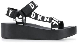 DKNY Logo Platform Sandals