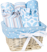 Trend Lab Blue & White Stripe & Dot Logan Feeding Gift Set