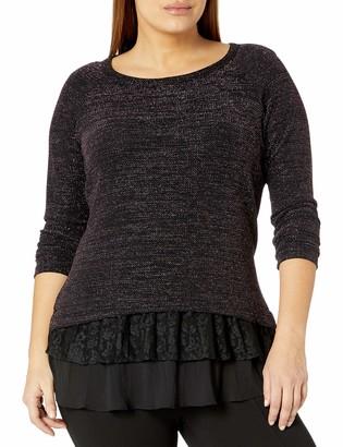 Karen Kane Women's Plus Size Lace Sparkle Top