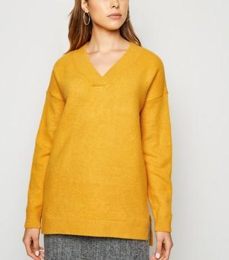 New Look Knit V Neck Longline Jumper