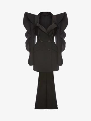 Alexander McQueen Heart Sleeve Tuxedo Tailored Dress