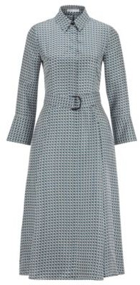 HUGO BOSS Shirt Dress In Pure Silk With New Season Print - Patterned