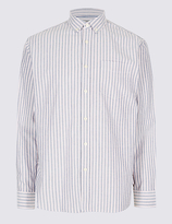M&S Collection Pure Cotton Striped Oxford Shirt