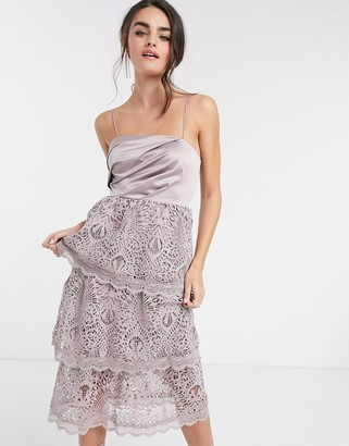 ASOS DESIGN tiered guipre lace midi dress with satin drape top
