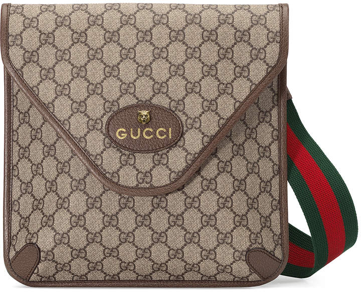 Gucci Neo Vintage GG Medium Messenger Bag In Beige Ebony & Green & Red in Beige Ebony & Green & Red | FWRD