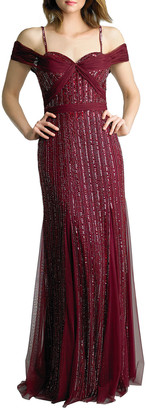 Basix II Sequin Cold-Shoulder Godet Column Gown