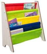 TopHomer Children Soft Nylon Fabric Sling Bookshelf Children Wood Book Display Storage Rack Shelves Bookcase for Baby Nursery Room Bedroom