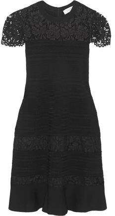 Valentino Lace-Paneled Fluted Stretch-Knit Dress