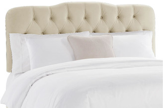 One Kings Lane Davidson Tufted Headboard - Cream Velvet - antiqued white