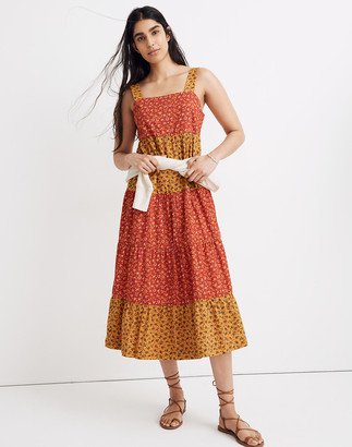 Madewell Button-Back Tiered Midi Dress in Colorblock Calico
