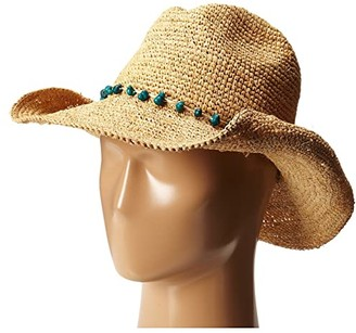San Diego Hat Company RHC1074 Crochet Raffia Cowboy w/ Stone Trim (Natural) Traditional Hats