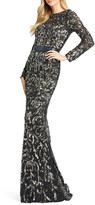 Mac Duggal 6-Week Shipping Lead Time Floral Sequin Long-Sleeve Illusion Gown