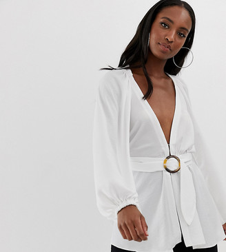 Asos Tall DESIGN Tall long sleeve plunge top with kimono sleeve and belt-White