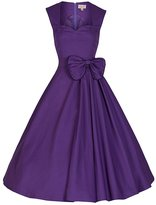 FORTRIC Women Sleeveless Retro Bow Vintage Bridesmaid Evening Party Swing Dress L