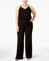 INC International Concepts Plus Size Blouson Wide-Leg Jumpsuit, Only at Macy's