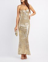 Charlotte Russe Sequin Strapless Maxi Dress